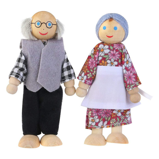 Cute Wooden Happy Family Dressed Puppet Flexible Joints Doll House Accessory Kids Toy Birthday Gift 3