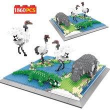 Şehir elmas mimari yaratıcı hayvanat bahçesi Mini yapı taşları hayvan dünya modeli eğitim tuğla DIY oyuncaklar çocuk hediyeler için