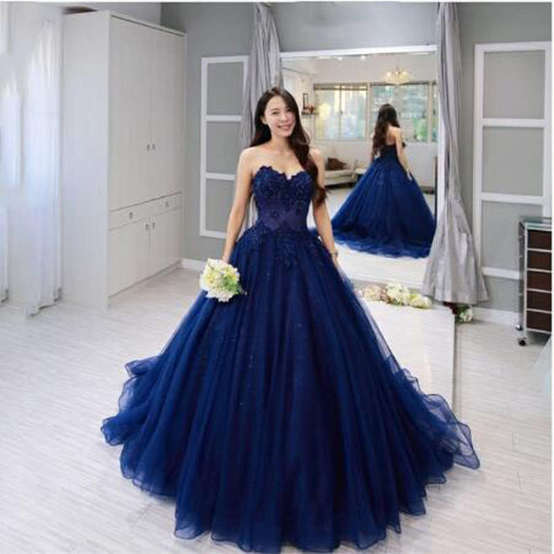 Ball-Gown Prom-Dresses Beading Sweetheart Neckline Customed-Made Blue Vintage Appliqued title=