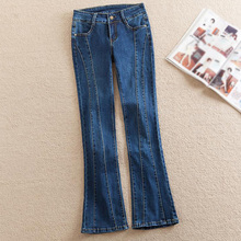 Jean Pants Woman for with High-Waist Push-Up Large-Size Ladies Denim 5xl Flared Mom Blue