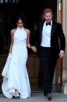 Royal White Satin Mermaid Wedding Dresses 2019 Prince Harry Meghan Markle Bridal Gowns Halter Backless Wedding Reception Dress