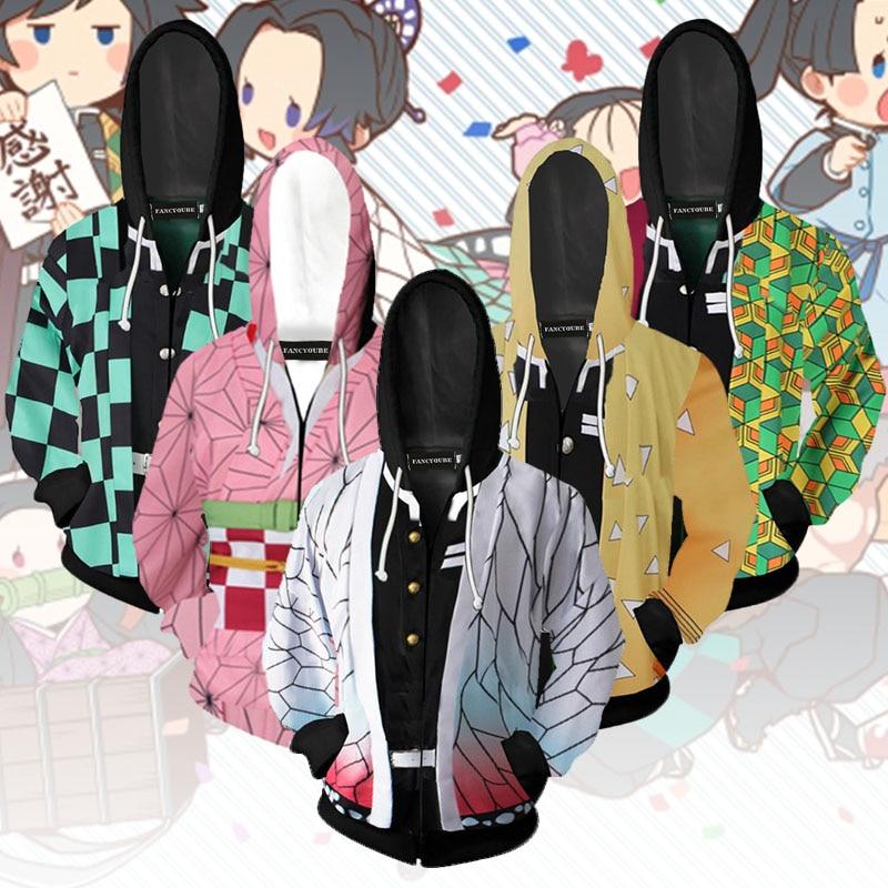 H1409cc1f23504b8ab099354e5fd6d337p Jaqueta Demon slayer kimetsu no yaiba tanjirou nezuko zenitsu tomioka giyuu cosplay capuz traje anime casaco para festa de halloween