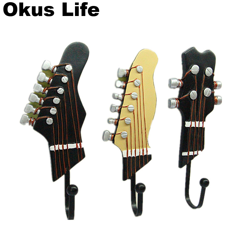 3pcs/lot Guitar Shaped Creative Key Hanger Rack Resin Decorative Holder Wall Hook Kitchen Organizer Bathroom Accessory Home Deco