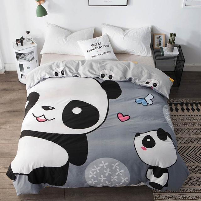 Svetanya 1pc Duvet Abdeckung 100% Baumwolle Quilt Tröster Decke Fall Kinder Cartoon Panda Gedruckt
