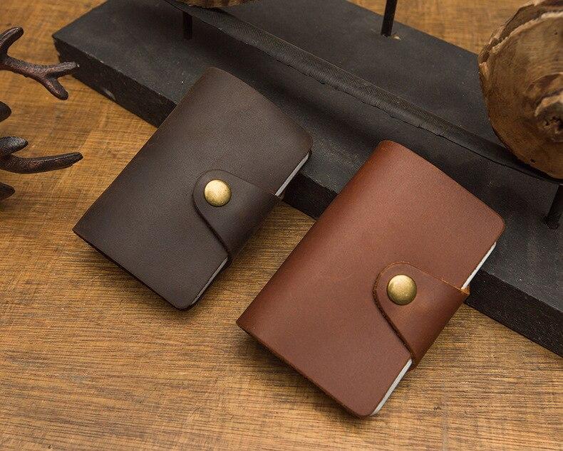 Suporte de cartão de couro artesanal, suporte