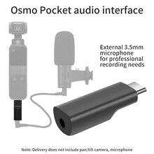 Adaptador de microfone de 3.5mm para dji osmo bolso interface de áudio adaptador de microfone para acessórios de bolso osmo