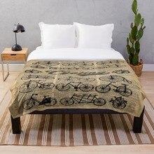 Manta estampada Sherpa, manta suave de franela, decoración del hogar, bicicletas Retro, Vintage Illust, envío directo