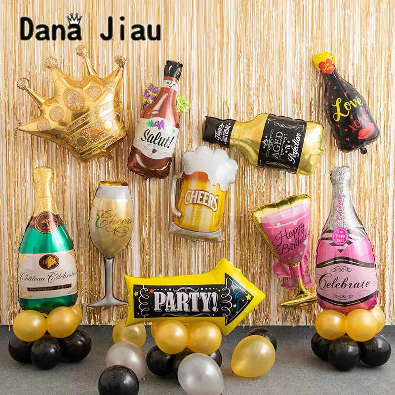 Whiskey champagne wine Bottle cup balloon wed decor 30 years old Happy birthday foil ball Bar decoration GamePad gold crown toy