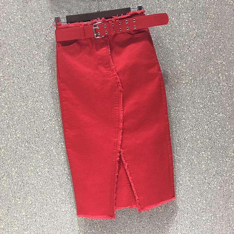 Spring Summer Casual Women Lady Red Black Green High Waisted Tassel Stretch Pencil Denim Skirt , Womens Elastic Jeans Skirts