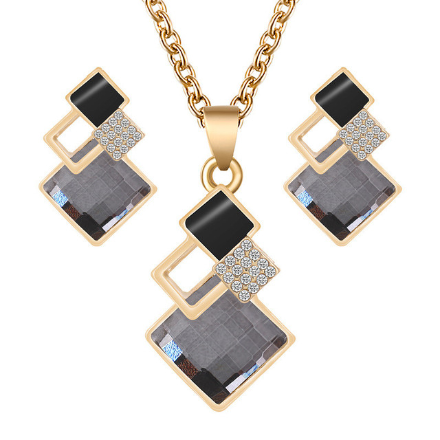 2020 Fashion Crystal Pendants Necklace Earrings Sets for Women Jewelry Set Bridal Wedding Earring Necklace Set 6