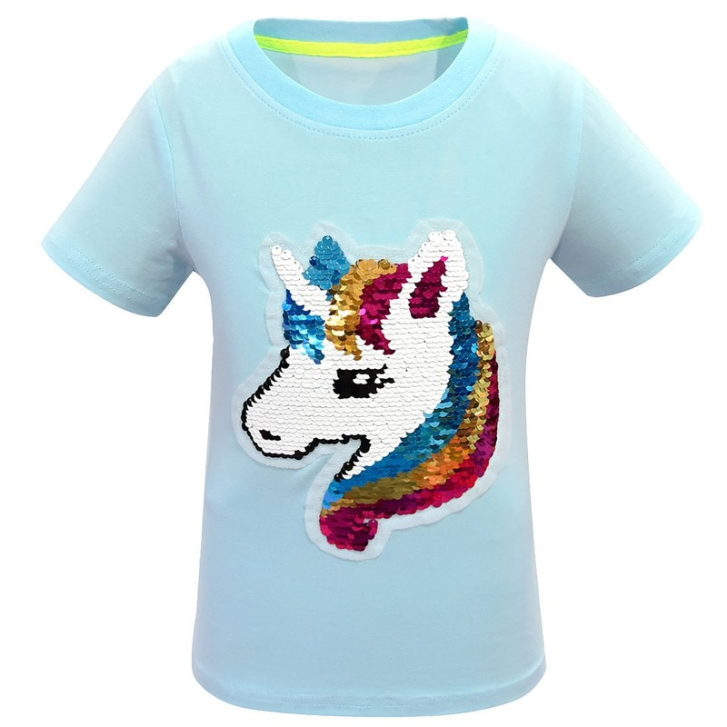 Girls Sequins Color Change T shirt Kids Unicorn Flip Double Sided T-shirts Children Baby Tops Tee Elsa Princess Glitter Clothes image
