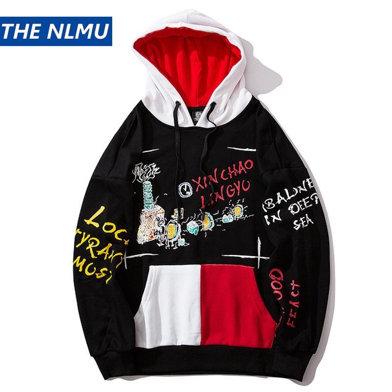 Graffiti Print Pocket Patchwork Hoodies Men Streetwear Hooded Sweatshirt Hip Hop Casual 2019 Autumn Harajuku Hoodies Male HZ144