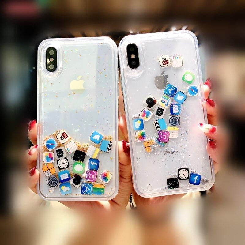 Liquid Glitter Quicksand Ios App Icon Case For IPhone X XS Max Xr 6 6s 7 8 Plus Case