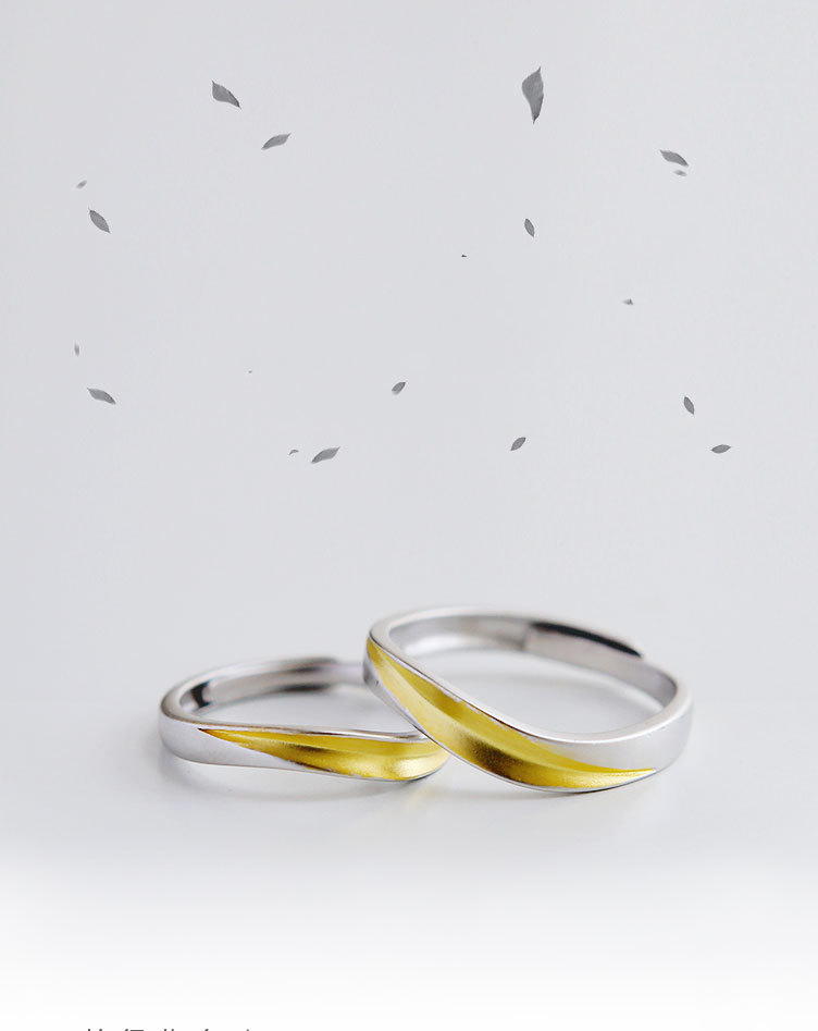 Leouerry 925 sterling silver creative matte texture leaf rings