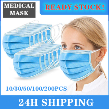 10pcs In Stock Disposable Medical Meltblown Protective Nonwove Blue 3 Layer Ply Anti-Flu Earloop Mouth Face Adult Mask Filter