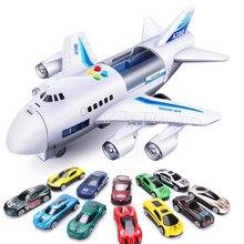 Juguetes para niños de simulación pista de inercia avión música estroboscópica con iluminación avión de pasajeros avión juguete fundido coche juguete educativo para niño