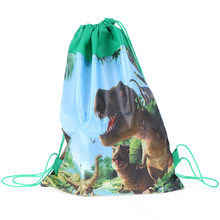 Non-woven Cartoon Cute Dinosaur Theme Decorate Fabric Baby Shower Drawstring Gifts Bags Birthday Party Boys Favors(China)