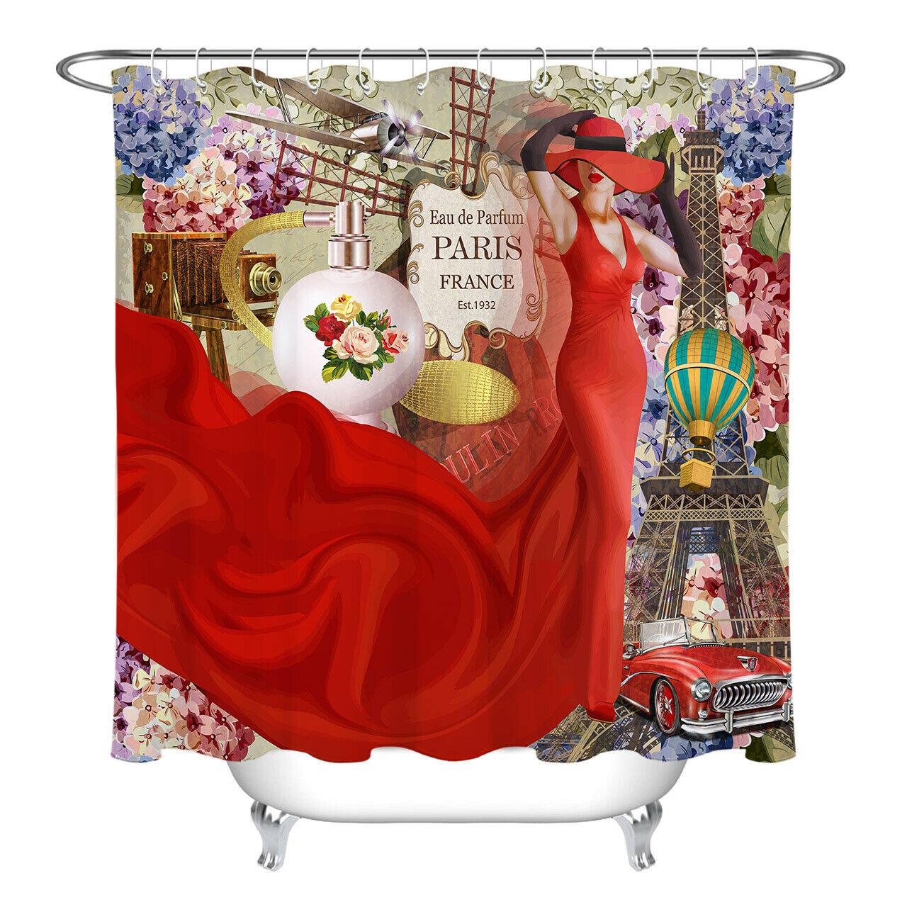 Shower Curtain Set Fashion Paris Red Skirt Girl Waterproof Bathroom Rug w// Hooks