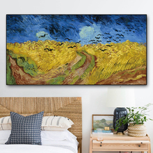 Wheatfield with crows by Van Gogh Wall Picture Poster Print Canvas Painting Calligraphy Decor for Living Room Bedroom Home Decor an angel in rrd with lute by da vinci wall picture poster print canvas painting calligraphy for living room bedroom home decor