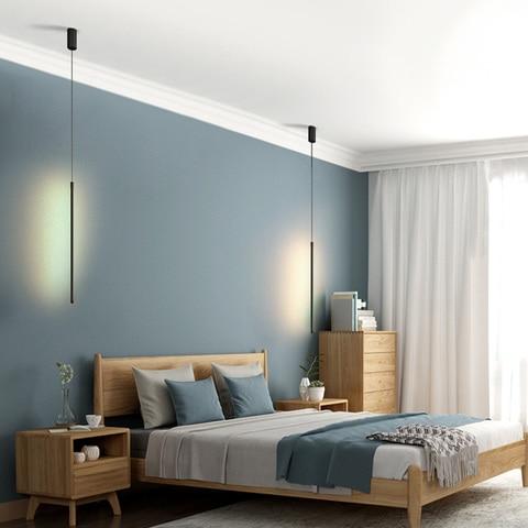 lustre led nordico simples de pendurar luminaria longa para sala de estar sofa plano de