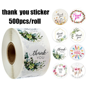 500pcs/roll Thank You Stickers for Seal Labels 1 Inch Gift Packaging Stickers Birthday Party Offer Stationery Sticker