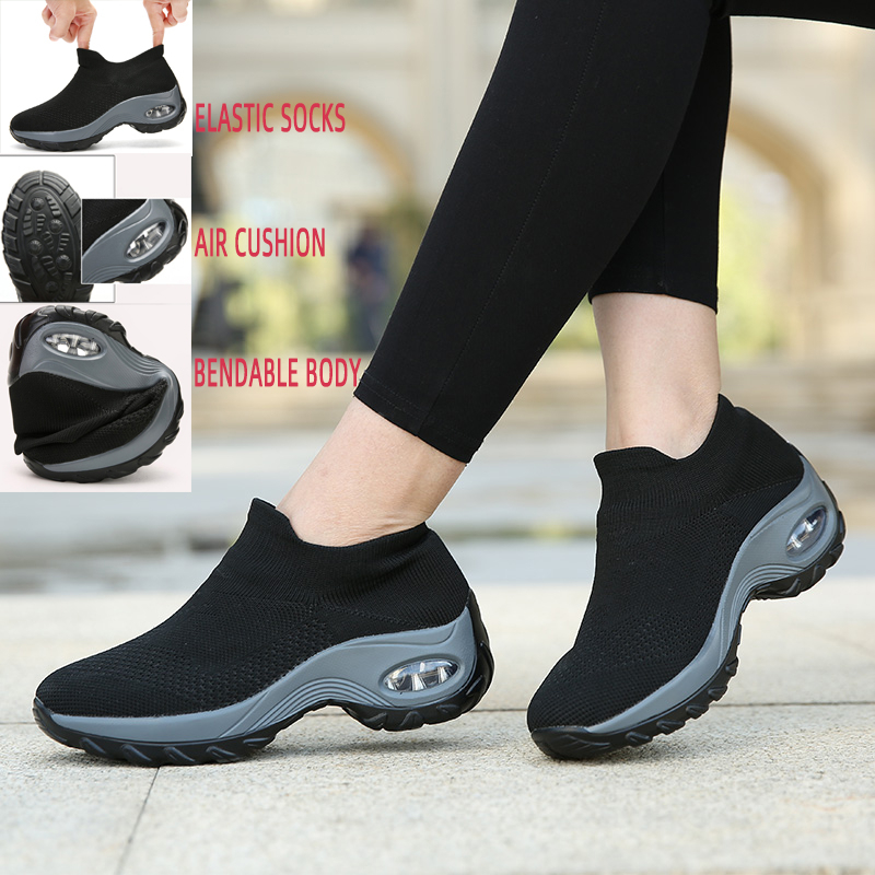 Air Cushion Women Sneakers Increase Platform Shoes Breathable Mesh Outdoor Sport Shoes Sock Athletic Shoes Black Zapatos Mujer