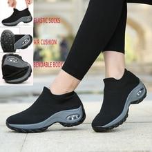 에어 쿠션 여성 운동화 증가 플랫폼 신발 통기성 메쉬 야외 스포츠 신발 양말 운동화 블랙 Zapatos Mujer