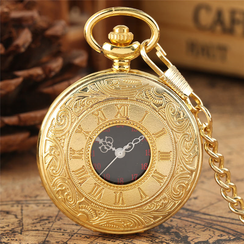 Pocket Watch Quartz Analog Luxury Large Dial Black Golden Chain Pendant Watch For Male Female Reloj Bolsillo