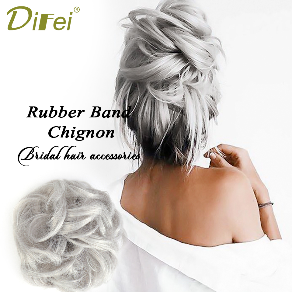 DIFEI 1 Pieces Synthetic Messy Chignon Donut Gray Black Colors Hair Bun Elastic Hair Rope Rubber Band Wrap On Ponytail Hairpiece