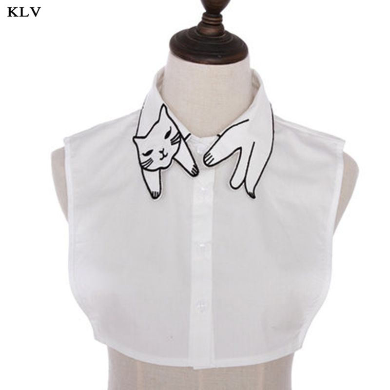 Retro British Style Women Girls Cotton False Fake Collar Cute Cartoon Cat Embroidery Casual Detachable Lapel Half-Shirt Blouse