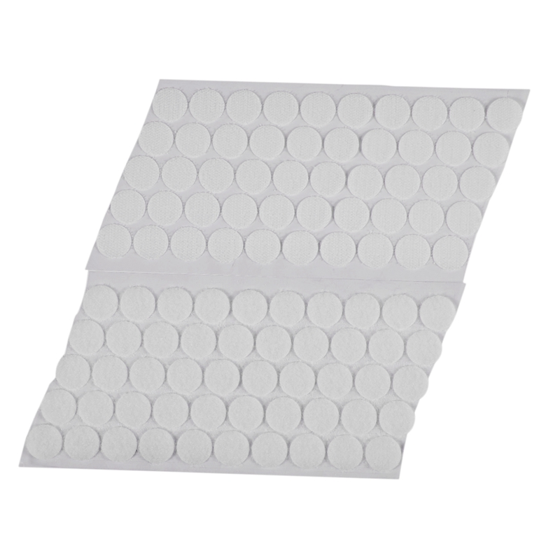 50 Pairs Magic Sticky Self Adhesive Buckle Hook Loop Round Pads Craft Tape White