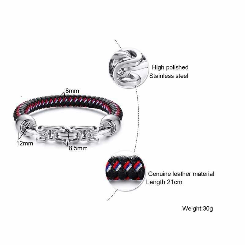 Ze stali nierdzewnej bizantyjski łańcucha akcent skórzana bransoletka dla mężczyzn z blokadą magnetyczną