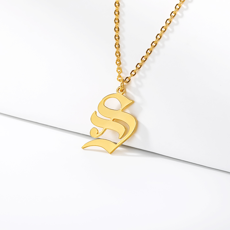 initial necklace for women Gold Chain letter necklace women stainless steel necklace old english font chains цепочка collier цеп