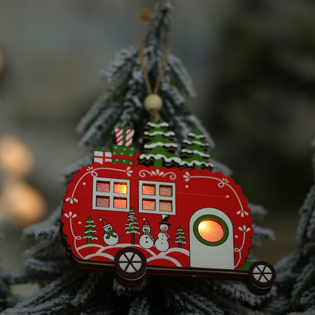 Creative Led Light Christmas Tree Hanging Pendant Star Car Heart Wooden Ornament Decoration Shine Romantic New Year Ornaments 15