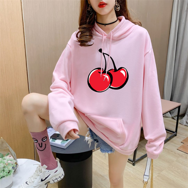 14 Colors Fleece Thick Warm Oversized Print Cherry Hoodie Women Long Sleeve Cute Kawaii Brand Sweatshirts and Hoodies Ladies 4