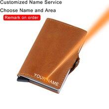 DIENQI עור אנטי Rfid בנק כרטיס בעל Slim מיני מזהה אשראי כרטיס פופ עד אבטחת ארנק כרטיס אשראי ארנק מקרה הגנה