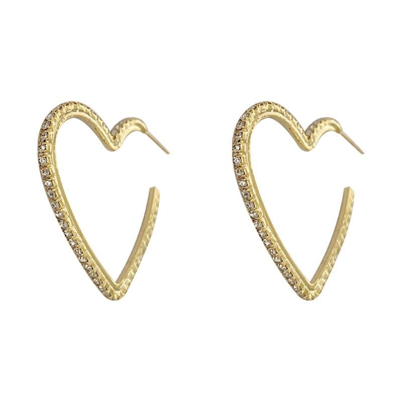 Yaologe Rhinestone Hollow Out Golden Five-pointed Star Earrings Korean Fan Big Earring Pendant 2020 Fashion Jewelry For Women