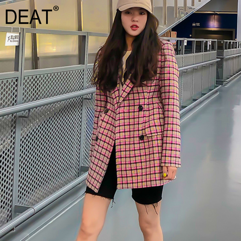 DEAT 2020 New Autumn And Winter Turn-down Collar Full Sleeves Plaided Double Breasted Single Blazer Female Jacket 19F-a156