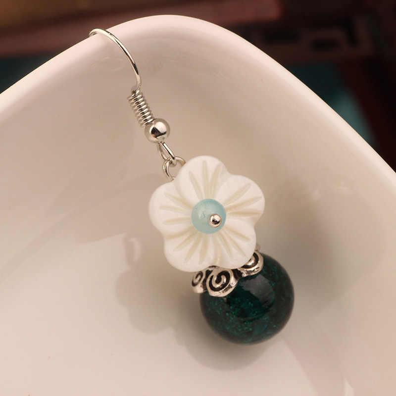 MYWINY 2019 Nuova natura pietre orecchini smalto di colore etnico shell orecchini del fiore, monili di modo dell'annata per le donne e una ragazza regalo