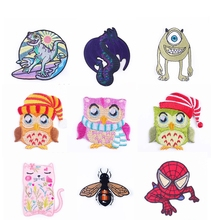 Pulaqi Cute Unicorn Owl Series Stripe Iron On Patches Applique Cartoon Animals Style Accessories Stickers Kids T-shirts DIY F