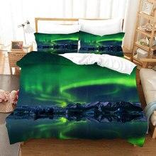 Aurora Three-piece Set 3D Digital duvet cover set single bed double bed Quilt Cover The aurora borealis