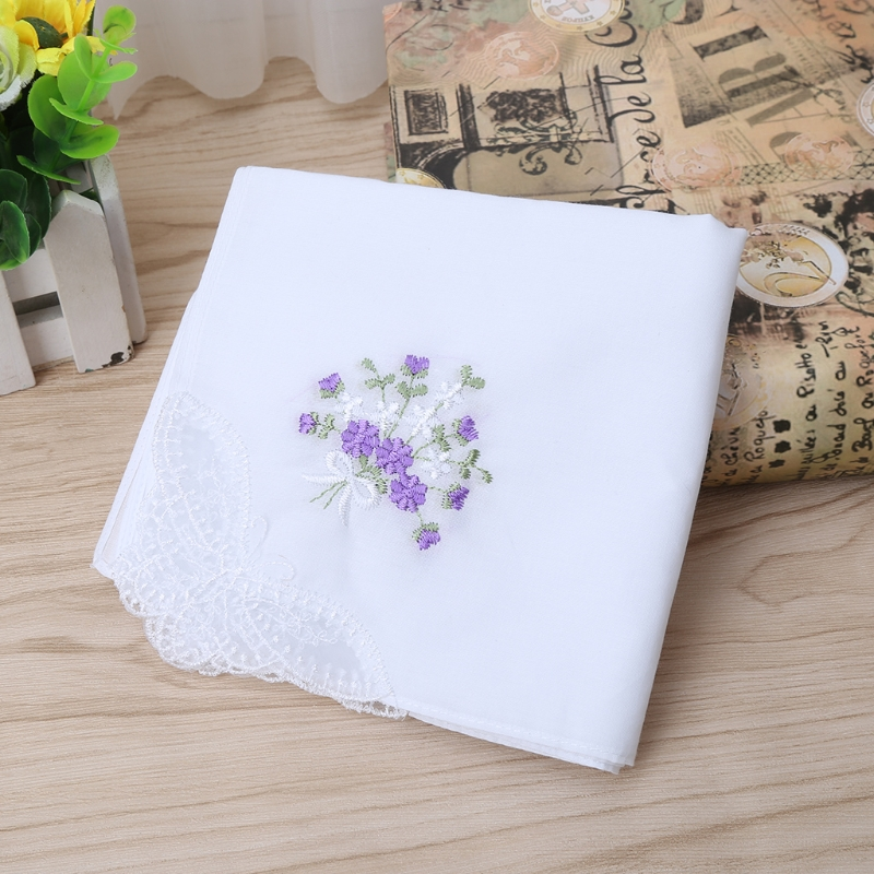 6 Pcs Vintage Cotton Ladies Embroidered Lace Handkerchief Women Floral Hanky