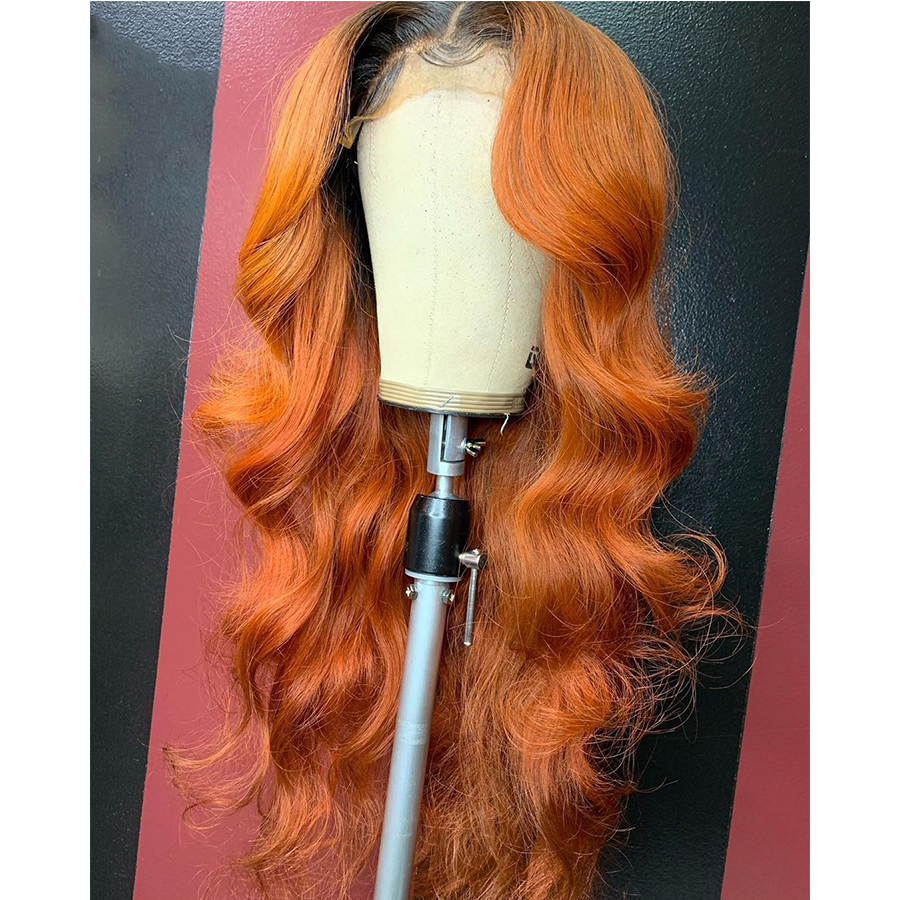 Ombre Orange 13*4 Lace Front Human Hair Wig Two Tone Remy Hair Body Wave Wigs With Baby Hair For Women