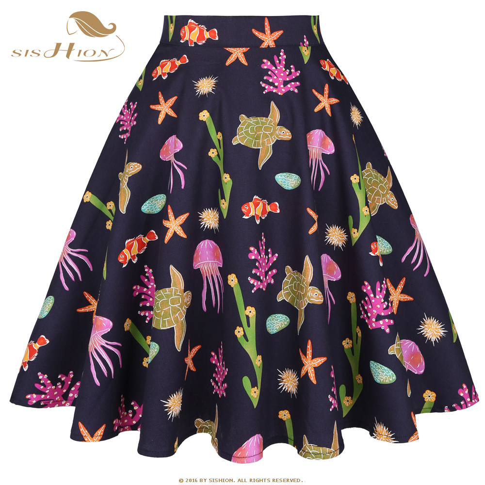 SISHION 2020 New Animal Print Cotton Beach Summer Skirt VD0020 Turtle Starfish Swing Ladies Women Skirt A Line Vintage Skirts