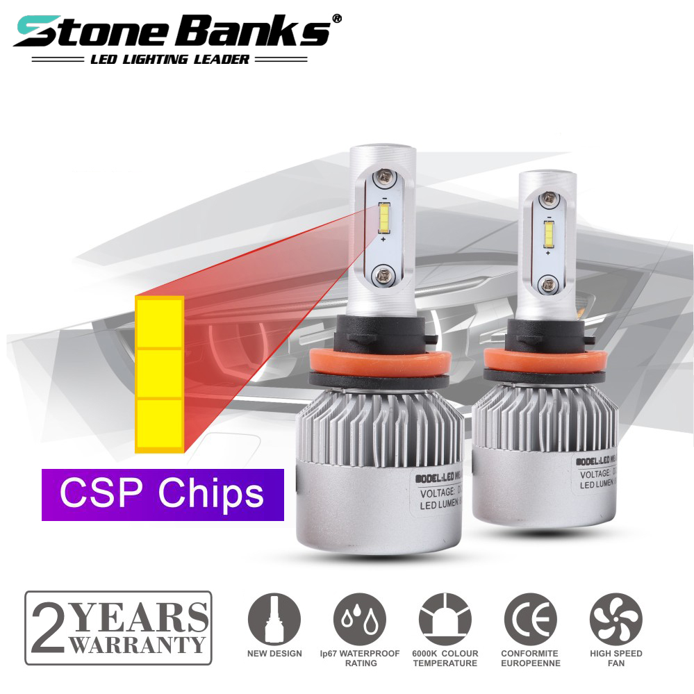 Stone Banks H7 H4 HB2 H11 H8 H9 H16 9005 HB3 9006 HB4 H1 <font><b>H3</b></font> <font><b>LED</b></font> Headlight Bulbs 100W 6000K Auto Headlamp <font><b>20000LM</b></font> Car Light 12V image