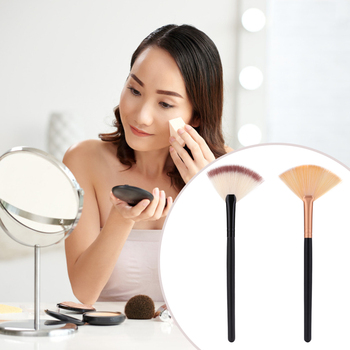 Fan Shape Makeup Brush Foundation Base Blush Powder Face Cosmetic Beauty Pen Women Enduring Cosmetic Makeup Tools image