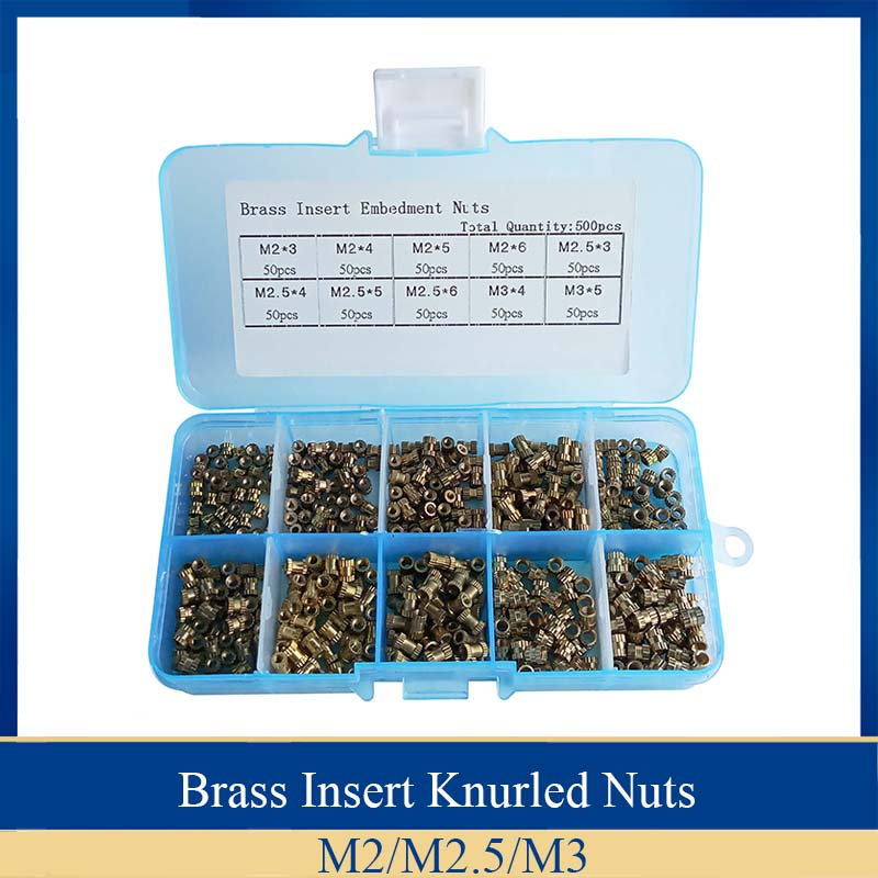 500pcs Brass Threaded Nut+Box Knurled Embedment Insert M2 M3 Molded Injection
