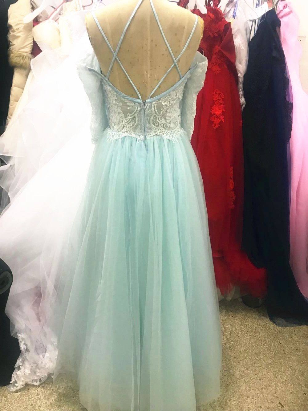 2020 cheap Prom Dresses Robe De Soiree A Line Evening Formal Gown lace three quarter Sleeves prom Dress