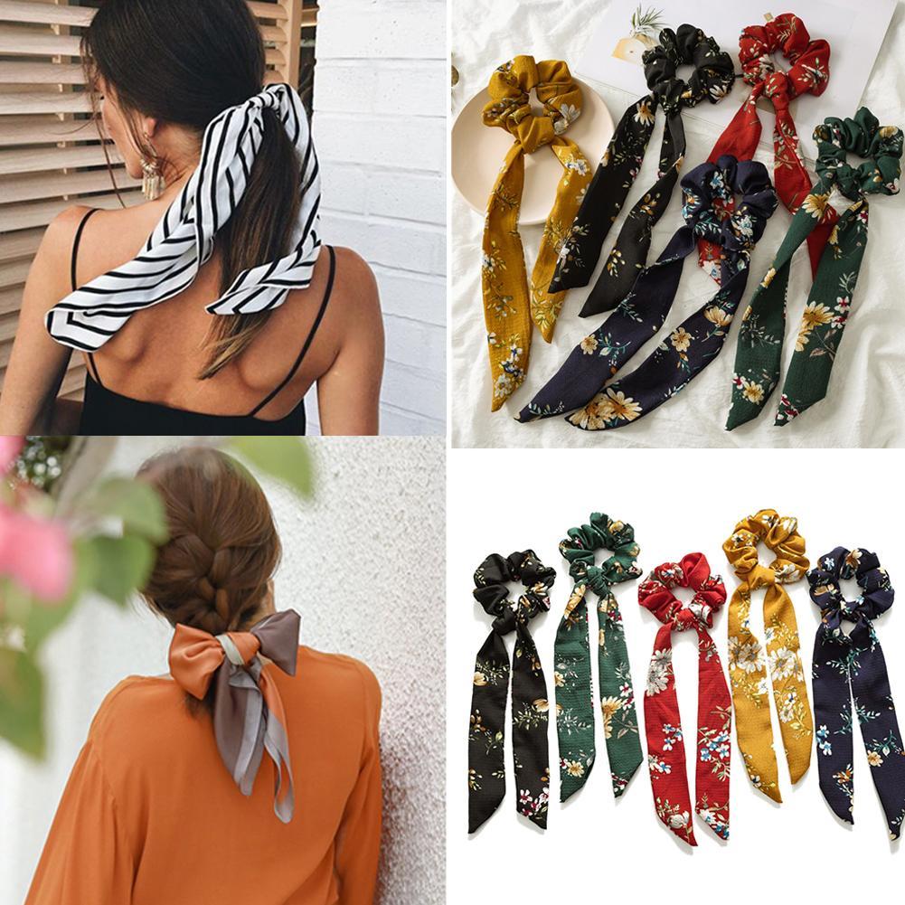Elegant Women Floral Print Ponytail Scrunchies Long Ribbon Elastic Hair Bands Girls Polka Dot Knotted Hair Rope Hair Accessories