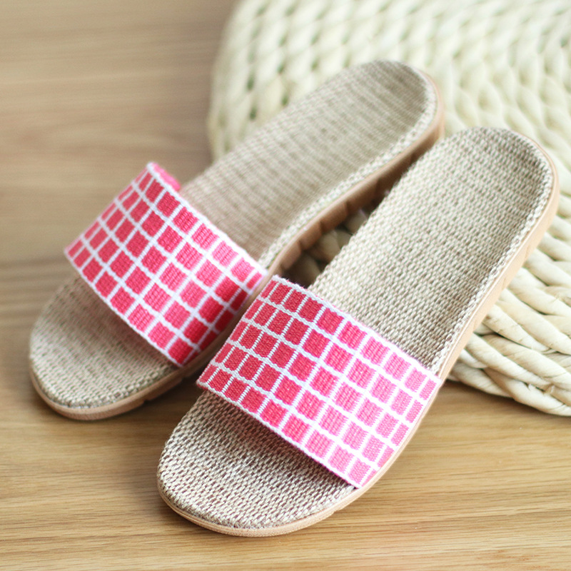 Plaid Linen Slippers Summer Couple Sweat-Absorbent Sandals Slippers Eva Home Slippers Indoor Floor Women Slippers Shoes